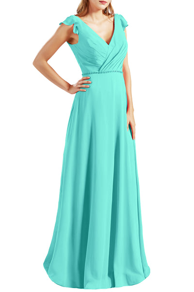 MACloth Women Cap Sleeves V Neck Chiffon Long Bridesmaid Dresses Evening Gown