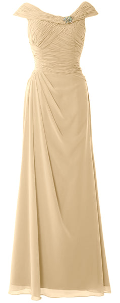 MACloth Women Cap Sleeves Boat Neck Formal Gown Long Mother of the Bride Dress