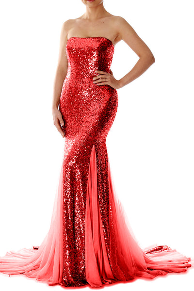 MACloth Mermaid Long Prom Party Gown Strapless Sequin Evening Formal Dress