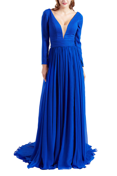 MACloth Women Plunging V Neck Long Sleeve Formal Evening Dress Prom Party Gown