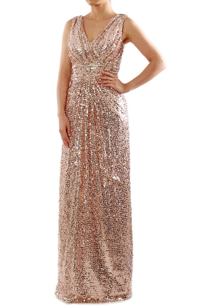 MACloth Women V Neck Formal Evening Gown Sequin Long Bridesmaid Dresses Maxi