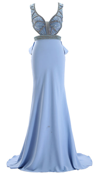 MACloth Women Deep V Neck Long Prom Dress with Cut Out Satin Formal Evening Gown