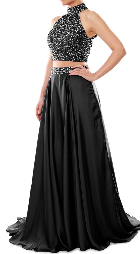 MACloth Women Two Piece Prom Dress High Neck Chiffon Long Formal Evening Gown