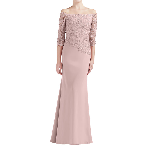 MACloth Women Off Shoulder 3/4 Sleeves Long Mother Bride Dresses Evening Gown