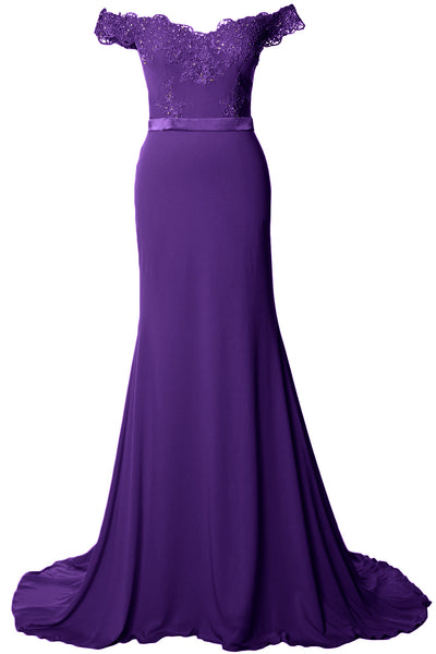 MACloth Women Prom Dresses Mermaid Off the Shoulder Lace Formal Evening Gown
