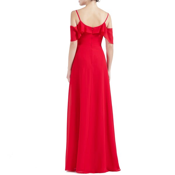 MACloth Women Cold Shoulder Long A Line Wedding Bridesmaid Dresses