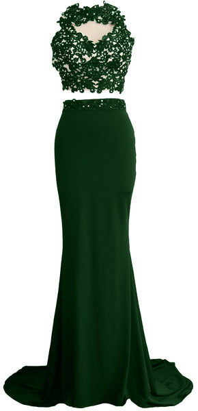 MACloth Women Mermaid 2 Piece Long Prom Dress Lace Jersey Evening Formal Gown