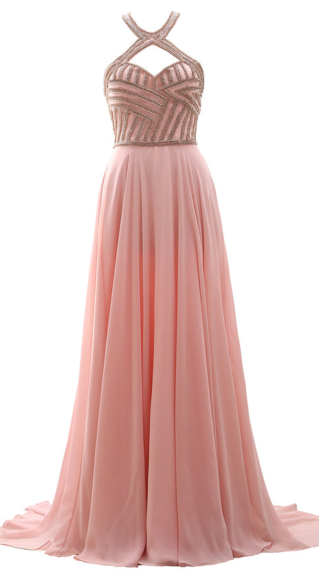 MACloth Women Halter Beaded Long Prom Ball Gown Open Back Formal Evening Dress