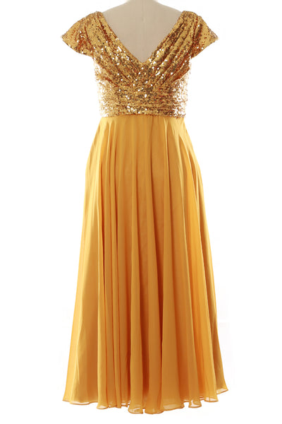 MACloth Women Mother of Bride Dresses Tea Length Sequin Cap Sleeves Bridesmaid