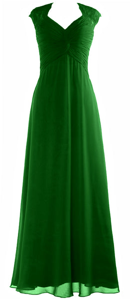 MACloth Women Cap Sleeve Lace Long Prom Dress Chiffon Wedding Party Formal Gown