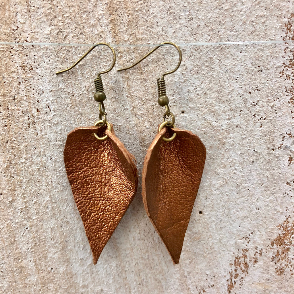Small Single Leaf Goat Leather Earrings