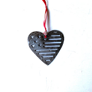 American Flag in Heart Ornament