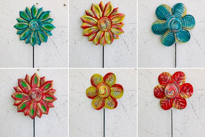 Set of 6 Colorful Flowers Garden Stakes