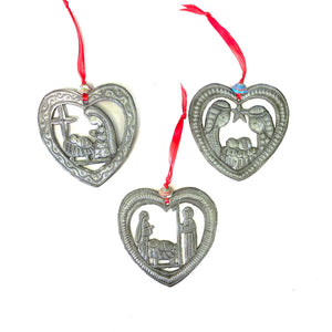 Heart Nativity Ornament (Set of 3)
