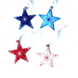 Set of 4 Stars (Red and Blue)