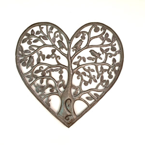 Brushed Steel Heart Tree of Life