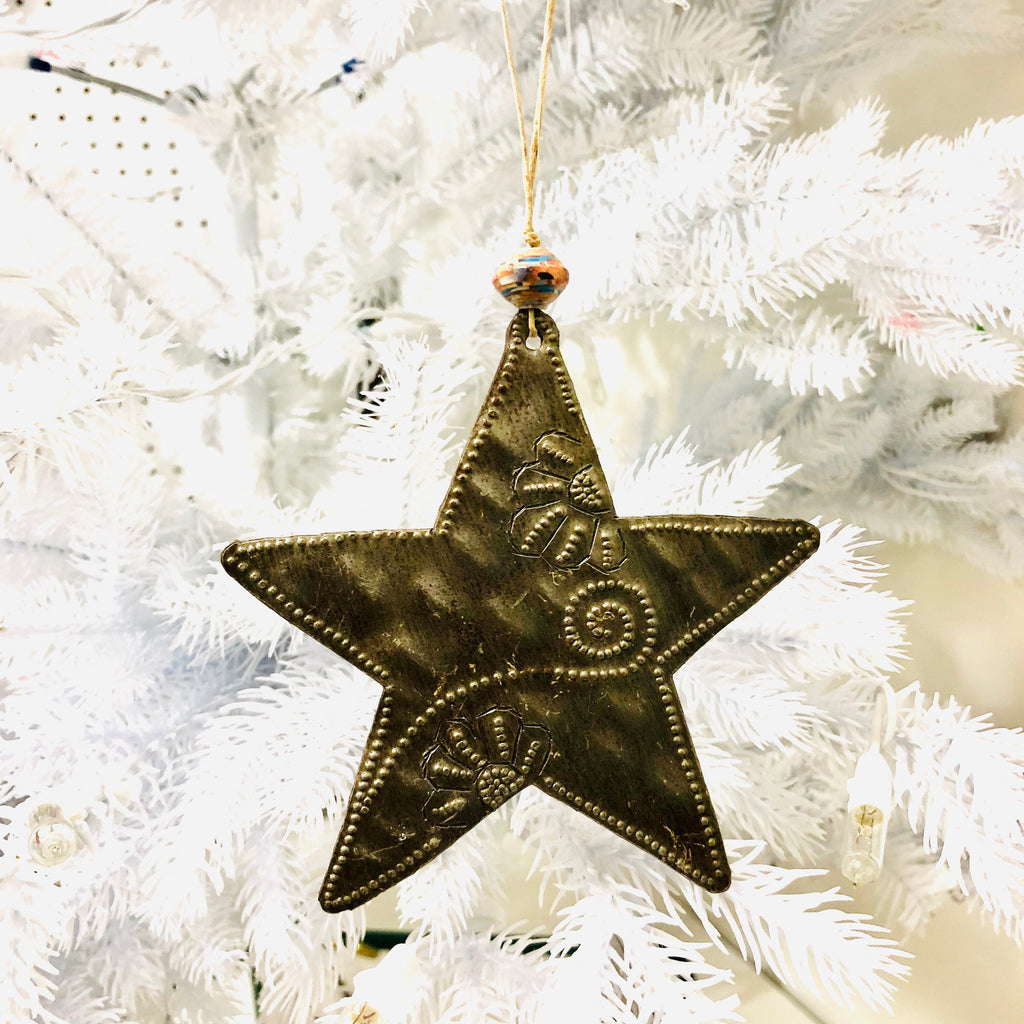 Whimsical Metal Star Ornament
