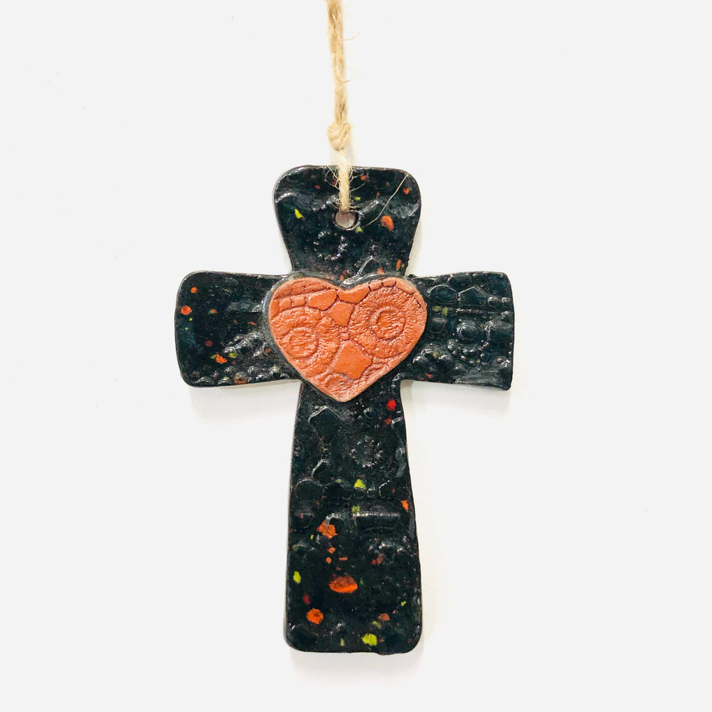 Calliope Heart Ceramic Cross