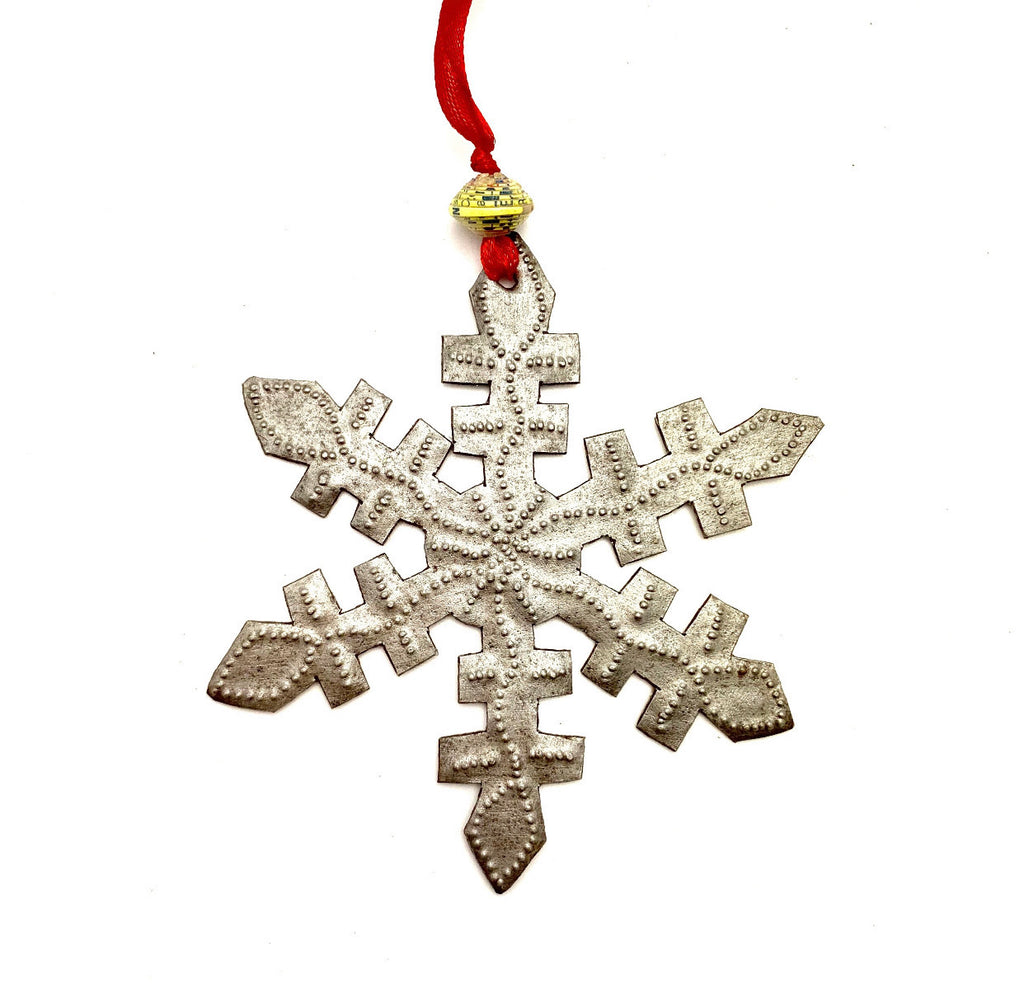 Red Ribbon Snowflake Ornament