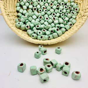 Rustic Square Mint Green Beads
