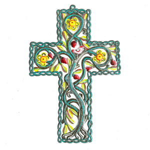 Turquoise Cross with Yellow Flowers