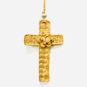 Gold Lace Floral Cross