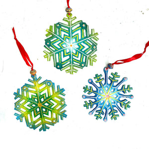Blue and Green Snowflakes (Set of 3)