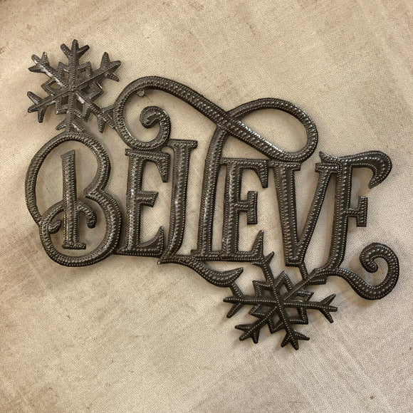 """Believe"" Wall Hanging with Snowflakes"