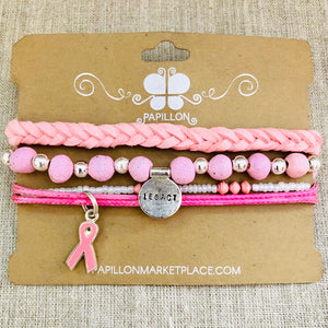Breast Cancer Awareness Bracelet Set