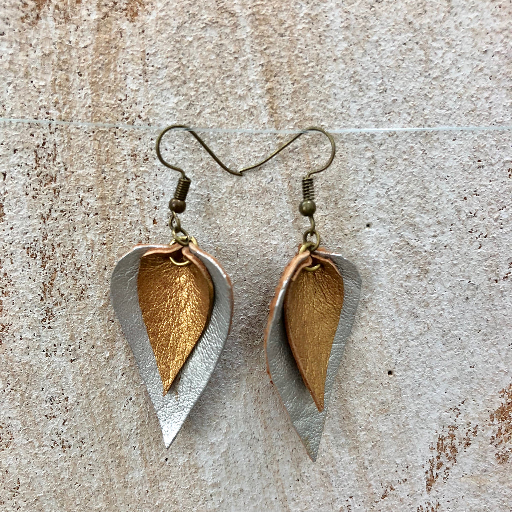 Small Double Leaf Goat Leather Earrings