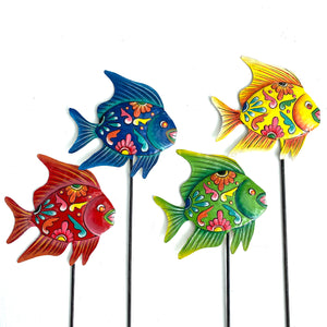 Whimsical Fish Garden Stakes (Set of 4)