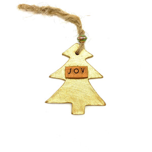 Ceramic Tree Ornament- Gold Joy