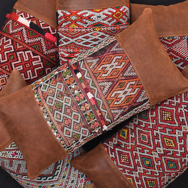 MOROCCAN KILIM LEATHER PILLOWS