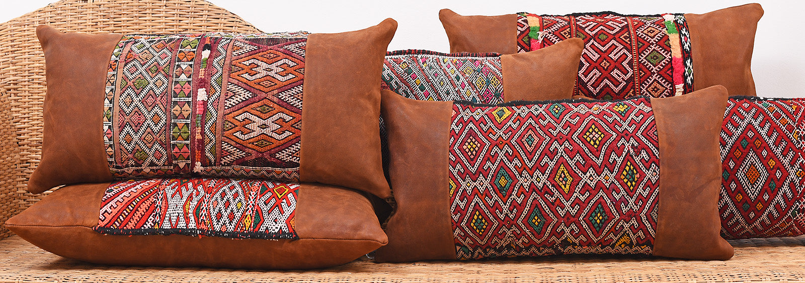 Moroccan Berber Leather Kilim Pillow