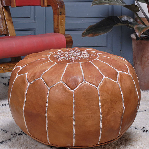 MOROCCAN LEATHER OTTOMANS