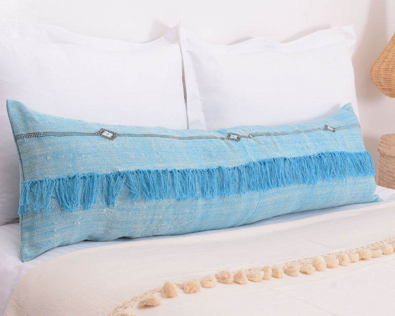 "Cactus Silk Moroccan Sabra Lumbar Throw with Fringe, Sky Blue - Rectangle 12""x47"""