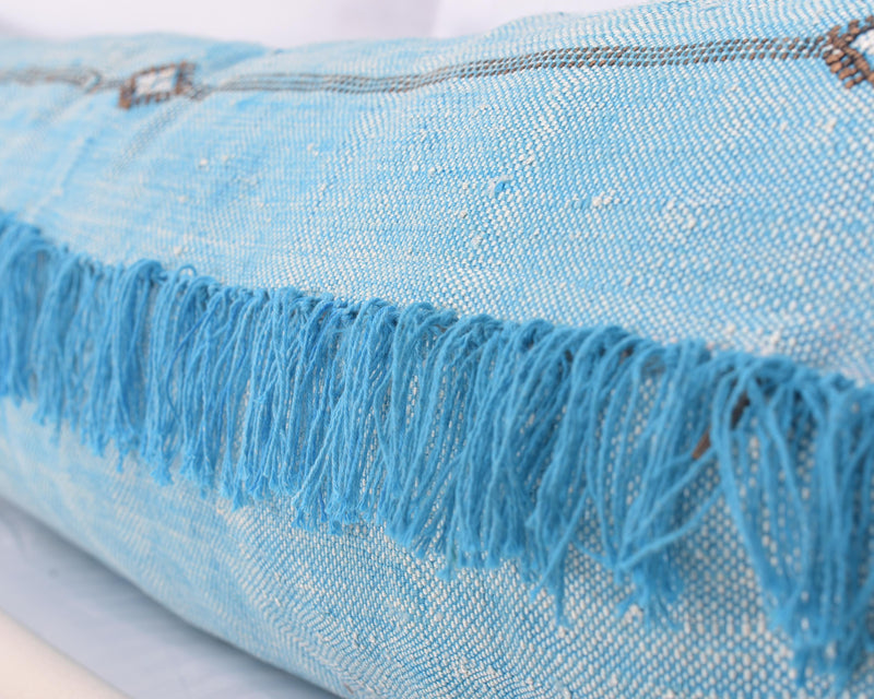 "Cactus Silk Moroccan Sabra Lumbar Throw with Fringe, Sky Blue - Rectangle 12""x47""  (CTS-K06)"
