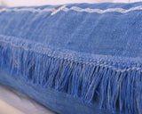 "Cactus Silk Moroccan Sabra Lumbar Throw with Fringe, Lapis Blue - Rectangle 12""x47""  (CTS-K14)"