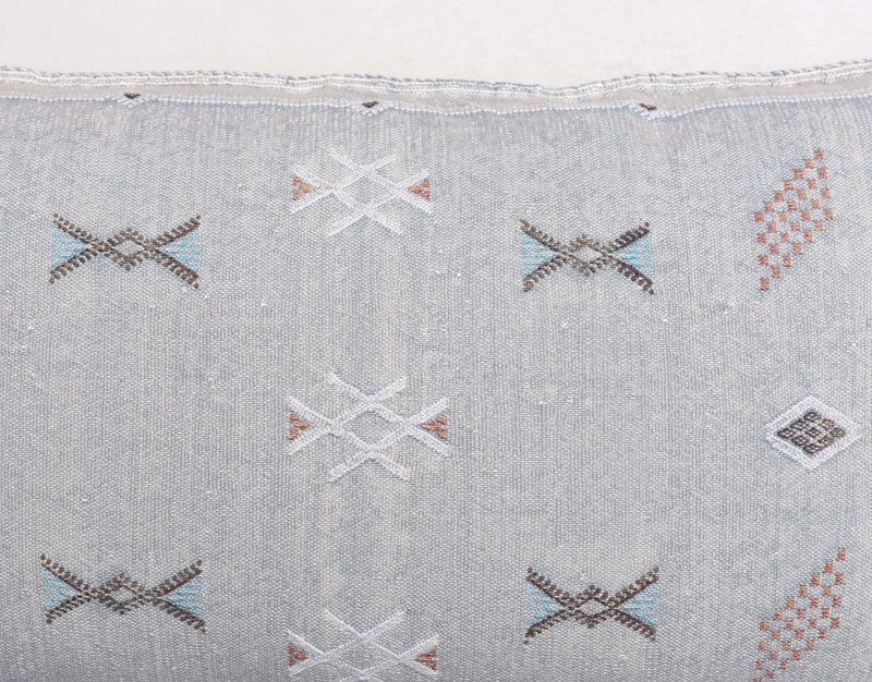 "Cactus Silk Moroccan Sabra Lumbar Throw, Light Gray - Rectangle 20""x40"" (CTS-L108)"