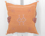"Cactus Silk Moroccan Sabra Pillow Throw, Burnt Orange- Square 20""x20"""