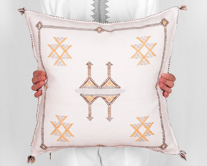 "Cactus Silk Moroccan Sabra Pillow Throw, Off White - Square 20""x20"""