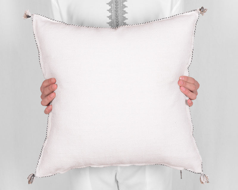 "Cactus Silk Moroccan Sabra Pillow Throw, Off White - Square 20""x20"" (CTS-P108)"