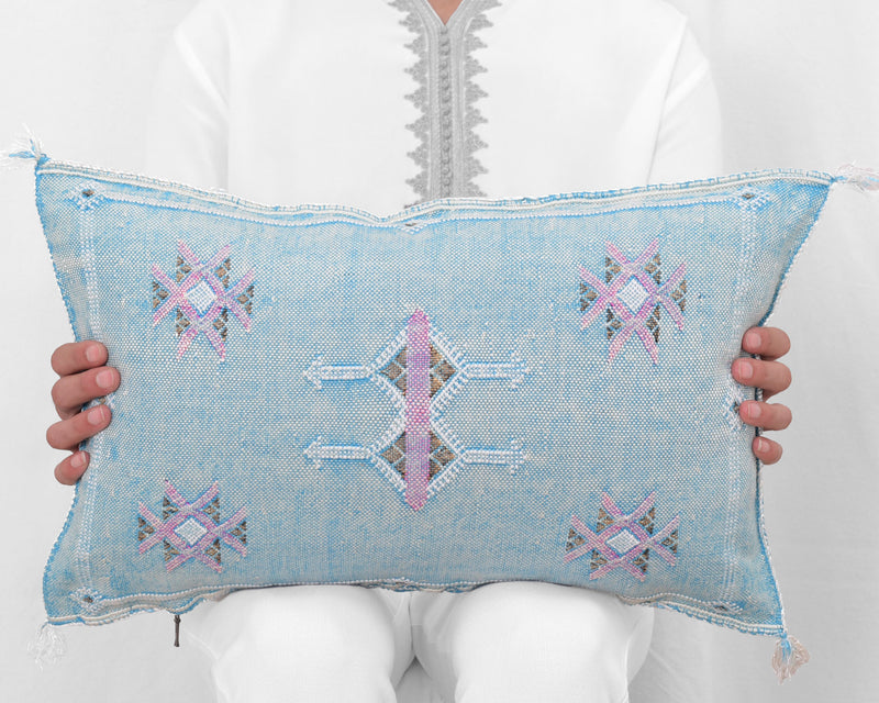 "Cactus Silk Moroccan Sabra Lumbar Throw, Sky Blue - Rectangle 13""x21"""