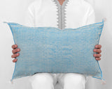 "Cactus Silk Moroccan Sabra Lumbar Throw, Sky Blue - Rectangle 13""x21"" (CTS-S108)"