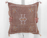 "Cactus Silk Moroccan Sabra Pillow Throw, Dark Rust - Square 18""x18"""