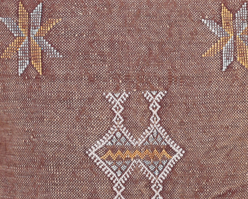 "Cactus Silk Moroccan Sabra Pillow Throw, Dark Rust - Square 18""x18"" (CTS-Z107)"