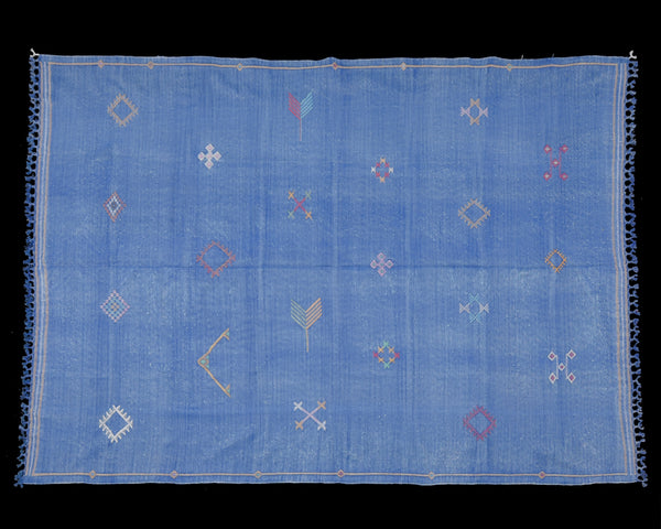 "Cactus Silk Moroccan Sabra Area Rug - Egyptian Blue 5'10""x8'06""ft  (RNS-L041)"
