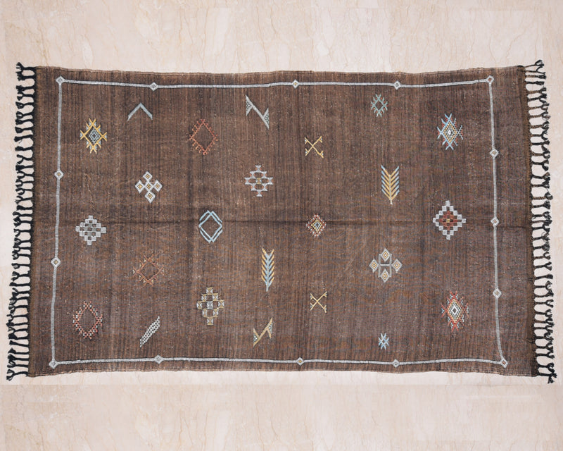 "Cactus Silk Moroccan Sabra Accent Rug - Mocha Brown 3'10""x6'05""ft  (RNS-S029)"