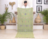"Cactus Silk Moroccan Sabra Runner - Apple Green 2'11""x7'07""ft"