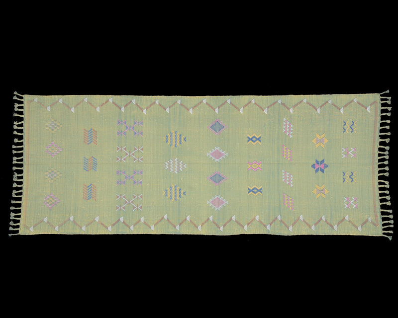 "Cactus Silk Moroccan Sabra Runner - Apple Green 2'11""x7'07""ft  (UNS-M003)"